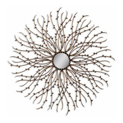 Hemera Mirror - Bring radiance to a room with the graceful curves, slim tendrils, and natural textures of the Hemera Mirror. Finished in a warm aged metallic that turns the frame's layered rods into slim branches and berries, this round decorative wall mirror has a delicately exuberant presence and a serenely balanced design. Use to add a hint of gilt to transitional woodland d�cor or to invite natural forms into glamorous spaces.