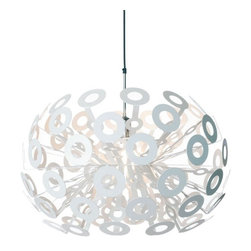 Moooi - Dandelion Pendant Light - Designed by Richard Hutten to look like a dandelion about to scatter its seeds in the spring, this pendant light will bring modern style to your home. It comes with a four-meter black cord and a chrome canopy, so you can hang it once it arrives. For indoor use only.