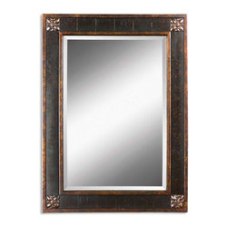 """Medallion Detail Bergamo Vanity Mirror - *Frame features a distressed chestnut brown finish with mottled black undertones, gold leaf details and a light tan glaze. Mirror has a generous 1 1/4"""" bevel."""