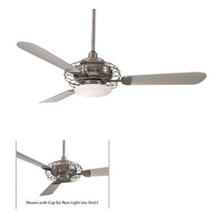 "Minka Aire - 52"" Acero Retro 3 Blade Ceiling Fan - An evolution of form and function merging today's technology with retro styling. This fan comes with an integrated light kit with halogen bulb. A cap is provided so the fan can be used without the downlight. The Acero is a smart hybrid of past and present and has been recognized as such as a member of the permanent design collection of the Chicago Athenaeum: Museum of Architecture and Design. Features: -Ceiling fan.-Opal Frosted glass.-14 Degree blade pitch.-Three blades with concave style.-Unique wire form design.-Full function wall mount control system.-Motor size: 188 mm x 15 mm.-RPM high is 183, low is 74.-Integrated halogen light uses one 100W mini-can halogen bulb (included).-Cap for non-light use included.-Acero collection.-NOTE: Ceiling Fans are not universal. Warranty is void if products from two different manufacturers are combined.Energy Guide Information:.-Collection: Acero.-Distressed: No.Specifications: -Product Air Flow: 6500 Cubic Feet Per Minute.-Electrical Usage: 70 Watts.-Air Flow Efficiency: 92.86 Cubic Feet Per Minute Per Watt.Dimensions: -3.5' and 6' downrods uses 0.75' I.D. DR5 series downrod).-80' Lead wire.-Hanging weight: 24 lbs.-Overall dimensions: 11 3/8' - 13 5/8' H x 52' W, depending on downrod, including light kit.-Overall Product Weight: 26.46 lbs..Warranty: -Limited lifetime warranty."