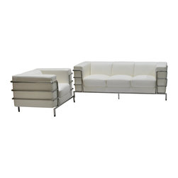 Diamond Sofa - Citadel Sofa Chair 2PC Set by Diamond Sofa - The Citadel Collection by Diamond Sofa is a Le-Corbusier-inspired design with an exposed tubular steel wrap-around frame .  Covered with plush, deep cushioning, this contemporary collection offers a modern approach to a classic frame.  The White Bonded Leather Sofa and Chair features a kiln-dried hardwood frame that is glued and reinforced, offers strength, while the zig zag spring suspension base gives you a supple seating that will hold up for years.  The elastic webbing back suspension offers additional stability while allowing for the leather to breathe and maintain its shape.  Seat cushions are comprised of a high density foam cushion wrapped in polyester fibers to ensure a comfortable, relaxing and lasting seat.  Seat cushions and back pillows are attached to the frame to eliminate shifts or gaps. The crisp and angular lines promote an aura of strikingly modern comfort.  White Bonded leather finishes the piece, to provide and ensure years of comfort and enjoyment.  Citadel Sofa measures 79 inches wide by 33 inches deep by 28 inches high. Citadel Chair measures 39 inches wide by 33 inches deep by 28 inches high.