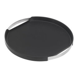 Blomus - PEGOS Round Tray by Blomus - Created by Floz Design, the Blomus PEGOS Round Tray is made out of stainless steel, silicone and plastic. A slip-resistant layer of silicone in a dark finish contrasts with the stainless steel handles and keeps items from sliding around. Blomus, headquartered in Germany, specializes in the design and manufacture of beautifully engineered home and office accessories in modern stainless steel styles.