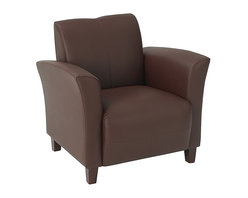 Office Star - Wine Eco Leather Club Chair with Cherry Finis - Color: WineMade of Leather/Wood. Thick Padded Seat and Back. Pictured Wine Eco Leather. Cherry Finish Legs. Some assembly required. Back Dimension: 21.5 in. W x 17 in. H. Seat Dimension: 20.5 in. W x 20 in. D. Overall Dimension: 32.5 in. W x 28.5 in. L x 32 in. H