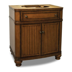 """Hardware Resources - Elements Compton Vanity in Painted Walnut (VAN029-NT) - This 30"""" wide MDF vanity has simple beadboard doors and curved shape to accent the traditional cottage feel. The Walnut finish is created by hand making each vanity unique. A large cabinet fully functional top drawer fitted around plumbing and interior pull out drawer equipped with ball bearing slides provide ample storage."""