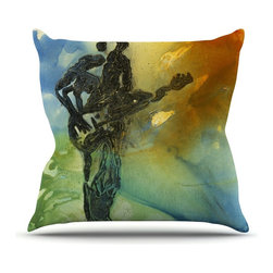 """KESS InHouse - Josh Serafin """"Rhythm"""" Guitar Player Throw Pillow, Outdoor, 16""""x16"""" - Decorate your backyard, patio or even take it on a picnic with the Kess Inhouse outdoor throw pillow! Complete your backyard by adding unique artwork, patterns, illustrations and colors! Be the envy of your neighbors and friends with this long lasting outdoor artistic and innovative pillow. These pillows are printed on both sides for added pizzazz!"""