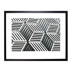 La Brea Facade - Framed Print - Dramatic geometry and repeated forms in a greyscale pattern make up La Brea Facade, an elite photograph print in basic black and white which heightens the impact and appeal of a room. Ideal for adding the graphic interest of achromatic art to a colored wall or to a minimalist monochrome setting, this print is framed with the dynamic technique of a wide mat with a narrow, contrasting frame.