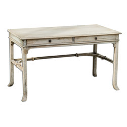Uttermost - Bridgely Aged Writing Desk - Plantation-grown mango wood makes up the solid, carved and dovetail construction with deep-grained mindi veneer in an aged white finish with antique brass drawer pulls.