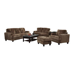 Coaster - Coaster Hurley Tufted 4 Piece Sofa Set in Mocha Velvet - Coaster - Sofa Sets - 503531234PKG