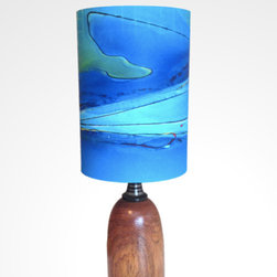 BoardWalk Table Lamp - Capture the essence of the Pacific Ocean with this table lamp, uniquely painted by California artist Rowan Chase. The hardwood base and tidal flow designs on the 100 percent cotton-velvet, watercolor paper shade take your mind surfing.