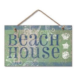"""Handcrafted Nautical Decor - Wooden Beach House Sign 10"""" - Decorative Sign - Our Wooden Beach House Sign 10"""" is the perfect choice to display your affinity for decorating a beach house. Place this sign in a beach kitchen, use as a coastal decorating idea, or hang this up as part of your beach bedroom decor. Given all the options, one thing is for certain, you are sure to inject the beach lifestyle into your humble abode."""