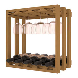 Wine Storage Lattice Stemware Cube in Pine with Oak Stain - Designed to stack one on top of the other for space-saving wine storage our stacking cubes are ideal for an expanding collection. Use as a stand alone rack in your kitchen or living space or pair with the 20 Bottle X-Cube Wine Rack and/or the 16-Bottle Cubicle Rack for flexible storage.