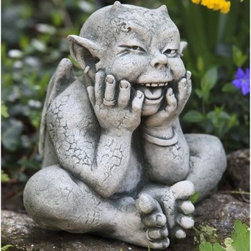 Campania International Robin The Gargoyle Cast Stone Garden Statue - About Campania InternationalEstablished in 1984, Campania International's reputation has been built on quality original products and service. Originally selling terra cotta planters, Campania soon began to research and develop the design and manufacture of cast stone garden planters and ornaments. Campania is also an importer and wholesaler of garden products, including polyethylene, terra cotta, glazed pottery, cast iron, and fiberglass planters as well as classic garden structures, fountains, and cast resin statuary.Campania Cast Stone: The ProcessThe creation of Campania's cast stone pieces begins and ends by hand. From the creation of an original design, making of a mold, pouring the cast stone, application of the patina to the final packing of an order, the process is both technical and artistic. As many as 30 pairs of hands are involved in the creation of each Campania piece in a labor intensive 15 step process.The process begins either with the creation of an original copyrighted design by Campania's artisans or an antique original. Antique originals will often require some restoration work, which is also done in-house by expert craftsmen. Campania's mold making department will then begin a multi-step process to create a production mold which will properly replicate the detail and texture of the original piece. Depending on its size and complexity, a mold can take as long as three months to complete. Campania creates in excess of 700 molds per year.After a mold is completed, it is moved to the production area where a team individually hand pours the liquid cast stone mixture into the mold and employs special techniques to remove air bubbles. Campania carefully monitors the PSI of every piece. PSI (pounds per square inch) measures the strength of every piece to ensure durability. The PSI of Campania pieces is currently engineered at approximately 7500 for optimum strength. Each piece is air-d