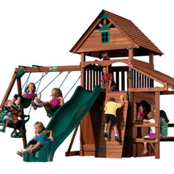 """Play Structures for Any Yard size - Yosemite Play set by Backyard Adventures.  A great """"Package Deal"""" for children ages 3-10.  Set comes with everything shown except the slide, which can be purchased separately.  Dimensions with slide are: 16' 7"""" W x 14' D x 11' 3"""" H.  Additional safety clearances required for slide, swings, and side table."""