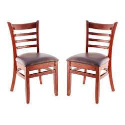Seating Masters - US Made Ladder Back Chair - Set of 2 (Mahogany), Wine Vinyl Seat - The Premium Wood Ladder Back Chair offers a traditional design which will be sure to provide your customers with the comfort they desire.