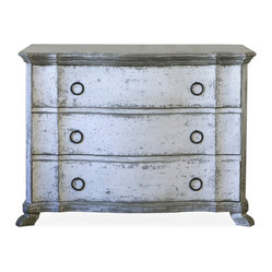 Eloquence - Bordeaux French Country Heavy Distress White Wash Dresser Commode - S - This classic three-drawer commode is absolute perfection. Vintage-inspired, whitewashed with hints of silver, and reminiscent of French country design, this sturdy piece will be one you cherish for years to come.