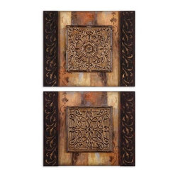 Uttermost - Uttermost 51054 Ornamentational Block I Ii  Set of 2 Wall Art - Uttermost 51054 Grace Feyock Ornamentational Block I Ii  Set of 2 Wall ArtThis frameless artwork features center, three dimensional, medallions of metal with an aged, rustic finish.Features: