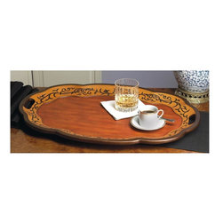 Dessau Home - Oval Tray in Birch Finish - Made from wood. 26 in. L x 18 in. W