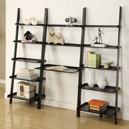 None - Black 3-piece Leaning Ladder Shelf with Laptop Desk - This dark ladder shelf provides a way to show off all of your favorite items while saving space. This shelf also has a laptop desk,so you can work near all your things.