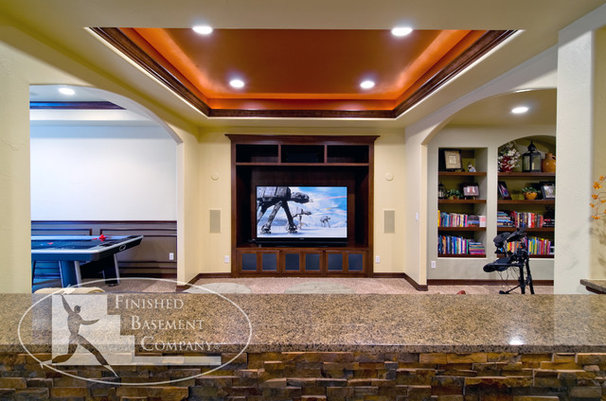 Traditional Basement by Finished Basement Company