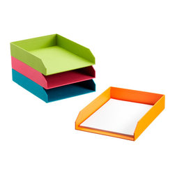 Bright Stockholm Stacking Letter Tray - These trays match these cute drawers, and I love the colors.