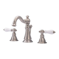 """Kingston Brass - Two Handle 8"""" Widespread Lavatory Faucet with Retail Pop-up FS1978APL - The American Patriot faucet collection from Fauceture features beautiful white porcelain handles with stylish high-rise spout, the Victorian-inspired design creates a perfect balance in the bathroom. All of our fabricated from solid brass, perfectly engineered to be drip-free, care-free, and long-lasting. The work of art is perfectly designed to match your bathroom decor. Manufacturer: Kingston BrassModel: FS1978APLUPC: 663370126918Product Name: Two Handle 8"""" Widespread Lavatory Faucet with Retail Pop-upCollection / Series: American PatriotFinish: Satin NickelTheme: ClassicMaterial: Brass/Zinc AlloyType: FaucetFeatures: Matching pop-up drain included"""