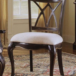 Hooker Furniture - Preston Ridge Double X-Back Side Chair - Set - Set of 2. Fabric upholstered seat. Four tack in floor glides. Made from hardwood solids with cherry, mahogany and white ash burl veneers. Distinctive black rub-through finish with a rich contrasting cherry finish. 24 in. W x 22.75 in. D x 40 in. H