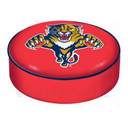 "Holland Bar Stool - Holland Bar Stool BSCFlaPan Florida Panthers Seat Cover - BSCFlaPan Florida Panthers Seat Cover belongs to NHL Collection by Holland Bar Stool This Florida Panthers bar stool cushion cover is hand-made in the USA by Covers by HBS; using the finest commercial grade vinyl and utilizing a step-by-step screen print process to give you the most detailed logo possible. This cover slips over your existing cushion, held in place by an elastic band. The vinyl cover will fit 14"" diameter x 4"" thick seats. This product is Officially Licensed. Make those old stools new again while supporting your team with the help of Covers by HBS! Seat Cover (1)"