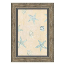 Soicher-Marin - Sea Stars & Shells A - Giclee print with a traditonal rustic distressed grey wooden frame with a grey linen liner.  Includes glass, eyes and wire. Made in the USA. Wipe down with damp cloth