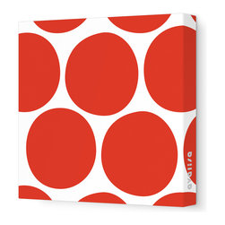"Avalisa - Pattern - Big Dots Stretched Wall Art, 18"" x 18"", Red - Dot's nice! Minimalist — yet with major impact — this stretched, frameless piece will be a bold focal point in your favorite room."