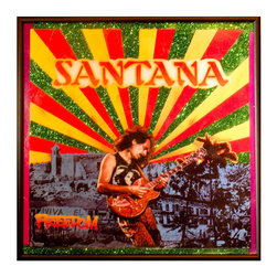 """Glittered Santana Freedom Album - Glittered record album. Album is framed in a black 12x12"""" square frame with front and back cover and clips holding the record in place on the back. Album covers are original vintage covers."""