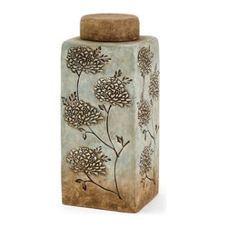 iMax - IMax Fantina Large Canister With Lid - Aqua shades blend into calm sandy ceramic tones in this serene canister featuring textured floral accents.