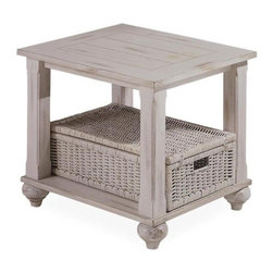 Klaussner - Treasures End Table in White with Wicker Basket - Treasures collection will evoke warm memories from times past. 23 in. L x 27 in. L x 23 in. H