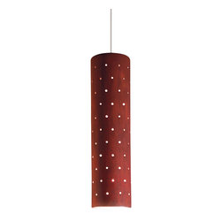 A19 - Stellar Mini Pendant Red Rock - The Stellar Mini Pendant glows with light through a pattern of tiny perforations through its slim, cylindrical shape. The matte Red Rock glaze adds a touch of earthiness and richness to this stunning light. Stylish hung alone or in a group, each of these hand-made lights is truly one of a kind. The hang straight sleeve slides over the coaxial cord creating a refined aesthetic and the opaque ceramic shade blocks glare while providing generous energy efficient down-lighting.