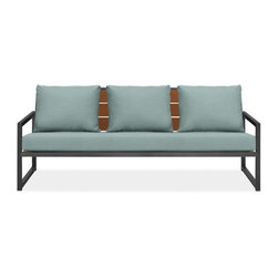 Montego Sofa w/Cushions - This is a great looking sofa for the outdoors. I like the combination of steel and wood and the idea that you can mix and match or change out the pillows when you need a decor change.