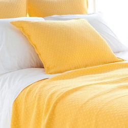 Pine Cone Hill - diamond matelasse coverlet (canary) - Lightweight, easy-care cotton featuring a subdued geometric pattern. Available in a variety of colors ranging from bright and vibrant to demurely neutral. The perfect basic to dress up any bed. Pair coverlets with matching shams or mix with complementary colors for a fun look. Shams feature envelope back closure.��This item comes in��canary.��This item size is��various sizes.