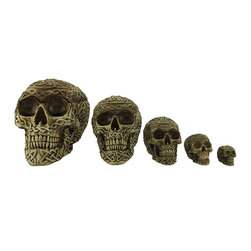 Zeckos - Set of 5 Nesting Celtic Skull Trinket Boxes - This set of 5 nesting trinket boxes is a unique addition to your home decor. Each of the skull shaped boxes is adorned with intricate Celtic knotwork and painted with a contrasting wash to emphasize the details. The largest skull measures 6 3/4 inches tall, 9 inches long, 6 3/4 inches wide, and the second largest is 5 1/2 inches tall, 6 3/4 inches long, 4 3/4 inches wide. The middle sized skull is 4 inches tall, 5 inches long, 3 1/2 inches wide, the second smallest is 2 1/2 inches tall, 3 1/4 inches long, 2 1/2 inches wide, and the tiniest skull of all is 1 3/4 inches tall, 2 1/4 inches long, 1 1/2 inches wide. They are made of cold cast resin, and are perfect for storing small valuables. They make a great gift, and are sure to be admired.