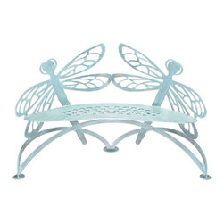 The Dragonfly Bench - This bench is a unique piece. It comes in other motifs like butterflies but I love the strength of the dragonflies. The cutout aspect makes it feel light but the steel makes it sturdy.