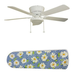 "Daisy Gingham 52"" Ceiling Fan with Lamp - This is a brand new 52-inch 5-blade ceiling fan with a dome light kit and designer blades and will be shipped in original box. It is white with a flushmount design and is adjustable for downrods if needed. This fan features 3-speed reversible airflow for energy efficiency all year long. Comes with Light kit and complete installation/assembly instructions. The blades are easy to clean using a damp-not wet cloth. The design is on one side only/opposite side is bleached oak. Made using environmentally friendly, non-toxic products. This is not a licensed product, but is made with fully licensed products. Note: Fan comes with custom blades only."