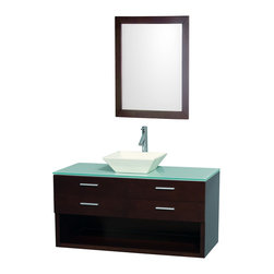 "Wyndham Collection - Wyndham Collection 48"" Andrea Espresso Single Sink Vanity Set w/ Green Glass Top - Modern, completely original and part of the Wyndham Collection Designer Series by Christopher Grubb, the Andrea vanity is at home in any modern bathroom decor. Offering plenty of concealed and open storage space, and with a choice of green or white glass counters, and several different sinks, you can create the perfect vanity for your own personal style. Featuring soft close door hinges and drawer glides, you'll never hear a drawer slam shut again!"