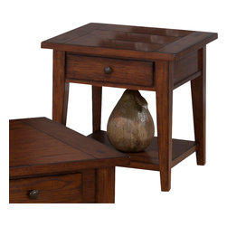 Jofran - Jofran 443-3 Clay County Square End Table with Drawer and Shelf in Oak - This collection is beautiful and simply designed. Each-piece is carefully crafted for long lasting beauty. The castered double header cocktail table features four drawers and a shelf. With durable construction you are sure to enjoy this collection for years to come.