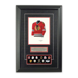 "Heritage Sports Art - Original art of the NHL 1978-79 Bobby Orr jersey - This beautifully framed piece features an original piece of watercolor artwork glass-framed in an attractive two inch wide black resin frame with a double mat. The outer dimensions of the framed piece are approximately 17"" wide x 24.5"" high, although the exact size will vary according to the size of the original piece of art. At the core of the framed piece is the actual piece of original artwork as painted by the artist on textured 100% rag, water-marked watercolor paper. In many cases the original artwork has handwritten notes in pencil from the artist. Simply put, this is beautiful, one-of-a-kind artwork. The outer mat is a rich textured black acid-free mat with a decorative inset white v-groove, while the inner mat is a complimentary colored acid-free mat reflecting one of the team's primary colors. The image of this framed piece shows the mat color that we use (Red). Beneath the artwork is a silver plate with black text describing the original artwork. The text for this piece will read: This original, one-of-a-kind watercolor painting of Bobby Orr's 1978-79 Chicago Blackhawks jersey is the original artwork that was used in the creation of this Bobby Orr jersey evolution print and tens of thousands of Bobby Orr products that have been sold across North America. This original piece of art was painted by artist Tino Paolini for Maple Leaf Productions Ltd. Beneath the silver plate is a 3"" x 9"" reproduction of a well known, best-selling print that celebrates Bobby Orr's hockey history. The print beautifully illustrates a chronological evolution of some of Bobby Orr's jerseys and shows you how the original art was used in the creation of this print. If you look closely, you will see that the print features the actual artwork being offered for sale. The piece is framed with an extremely high quality framing glass. We have used this glass style for many years with excellent results. We package every piece very carefully in a double layer of bubble wrap and a rigid double-wall cardboard package to avoid breakage at any point during the shipping process, but if damage does occur, we will gladly repair, replace or refund. Please note that all of our products come with a 90 day 100% satisfaction guarantee. Each framed piece also comes with a two page letter signed by Scott Sillcox describing the history behind the art. If there was an extra-special story about your piece of art, that story will be included in the letter. When you receive your framed piece, you should find the letter lightly attached to the front of the framed piece. If you have any questions, at any time, about the actual artwork or about any of the artist's handwritten notes on the artwork, I would love to tell you about them. After placing your order, please click the ""Contact Seller"" button to message me and I will tell you everything I can about your original piece of art. The artists and I spent well over ten years of our lives creating these pieces of original artwork, and in many cases there are stories I can tell you about your actual piece of artwork that might add an extra element of interest in your one-of-a-kind purchase."