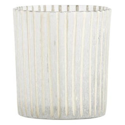 Minx Striped Candleholder - Candlelight shines soft and enchanting through handcrafted candleholders, etched with a subtle frosted texture and incised with hand-cut lines. Created in India by highly skilled artisans whose unique body of work is distinguished by intricate cutwork that imparts mesmerizing pattern and texture.