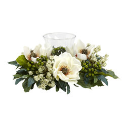 Nearly Natural - Magnolia Candelabrum Silk Flower Arrangement - The Magnolia is the perfect flower when you want a soft, warm feeling from your home decor. And this Magnolia Candelabrum perfectly captures those feelings. With an array of magnolia blooms, leaves, stems, and berries surrounding a single candle holder, this makes an ideal centerpiece, mantle, or shelf decoration. Heck, put it anywhere and watch the glow!