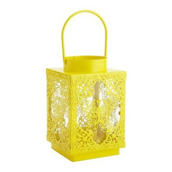 Butterfly Lantern - This lemon yellow lantern has a cutout butterfly design that will look cute in a tween girl's room.