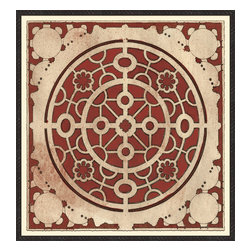 Soicher-Marin - Large Garden Plan A, Red - Giclee Print with a Black Ornate wooden frame with decorative line pattern floated on an off white mat.  Includes glass, eyes and wire. Made in the USA. Wipe down with damp cloth
