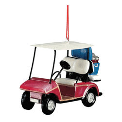 Midwest CBK - Red Golf Cart Christmas Tree Ornament - Golfing Summer Sport Hobby Novelty Gift - Red Golf Cart Christmas Ornament