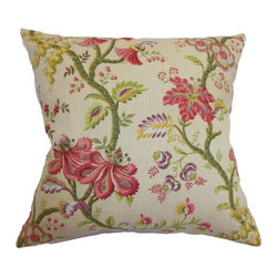 The Pillow Collection - Quesnel Floral Pillow Antique - Give your bedroom or living room an alluring look by coordinating this floral pillow. This accent pillow comes with an elaborate and pretty floral print. The flowers in bloom come in various shades, including Antique pink, purple, green, yellow and red. Combine this classic decor pillow with other floral print pillows for a refreshing decor style. This square pillow is crafted from a blend of 55% linen and 45% rayon fabric. Hidden zipper closure for easy cover removal.  Knife edge finish on all four sides.  Reversible pillow with the same fabric on the back side.  Spot cleaning suggested.