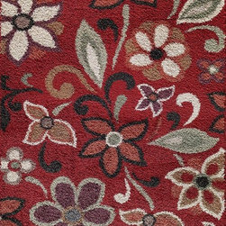 """Central Oriental - Country & Floral Tacoma 7'10""""x9'10"""" Rectangle Red Area Rug - The Tacoma area rug Collection offers an affordable assortment of Country & Floral stylings. Tacoma features a blend of natural Red color. Machine Made of Polypropylene the Tacoma Collection is an intriguing compliment to any decor."""