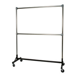 "Quality Fabricators - H-Rack - Heavy Duty Double Rail w/ 72"" Uprights Black - This H-Rack is designed to hold up to 500 lbs of apparel, while maximizing all five feet of length. And because the two rows are placed on top of each other, the rack will not tip under a heavy load."