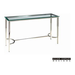 Allan Copley Designs - Allan Copley Designs Sheila 52x16 Rectangular Glass Top Console Table in Brushed - The Sheila Collection by Allan Copley Designs brings a classical simplicity to design and space. With its brushed stainless steel frame and beveled glass top, a unique yet modern piece that will fit elegantly in any room's decor is born. Simple in design, yet striking in appearance. The Sheila Collection includes Rectangular Cocktail, Square End and Console Table. What's included: Table Top (1), Table Base (1).